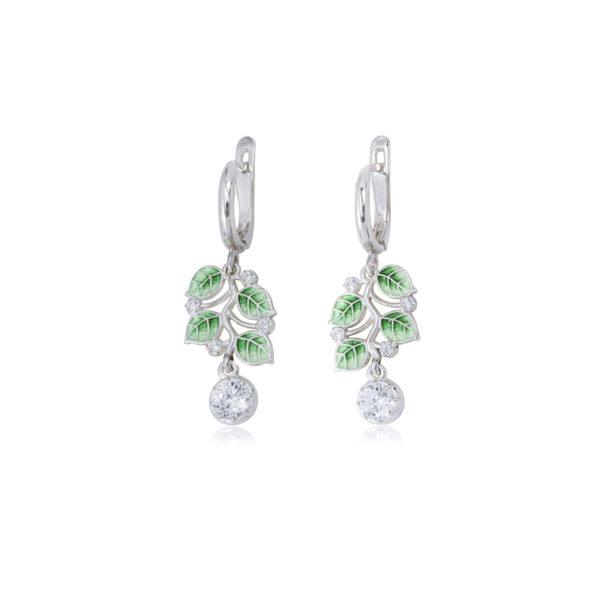 3 39 1s 2 2 600x600 - Серьги-подвески из серебра «Мелисса», зеленые