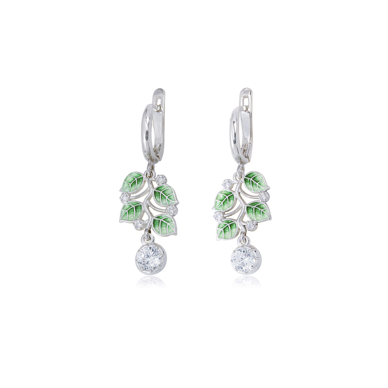 3 39 1s 2 2 - Серьги-подвески из серебра «Мелисса», зеленые