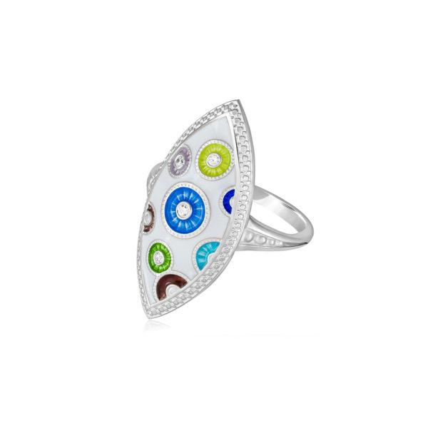 61 143s 1 600x600 - Перстень серебряный «Пуговки» с фианитами