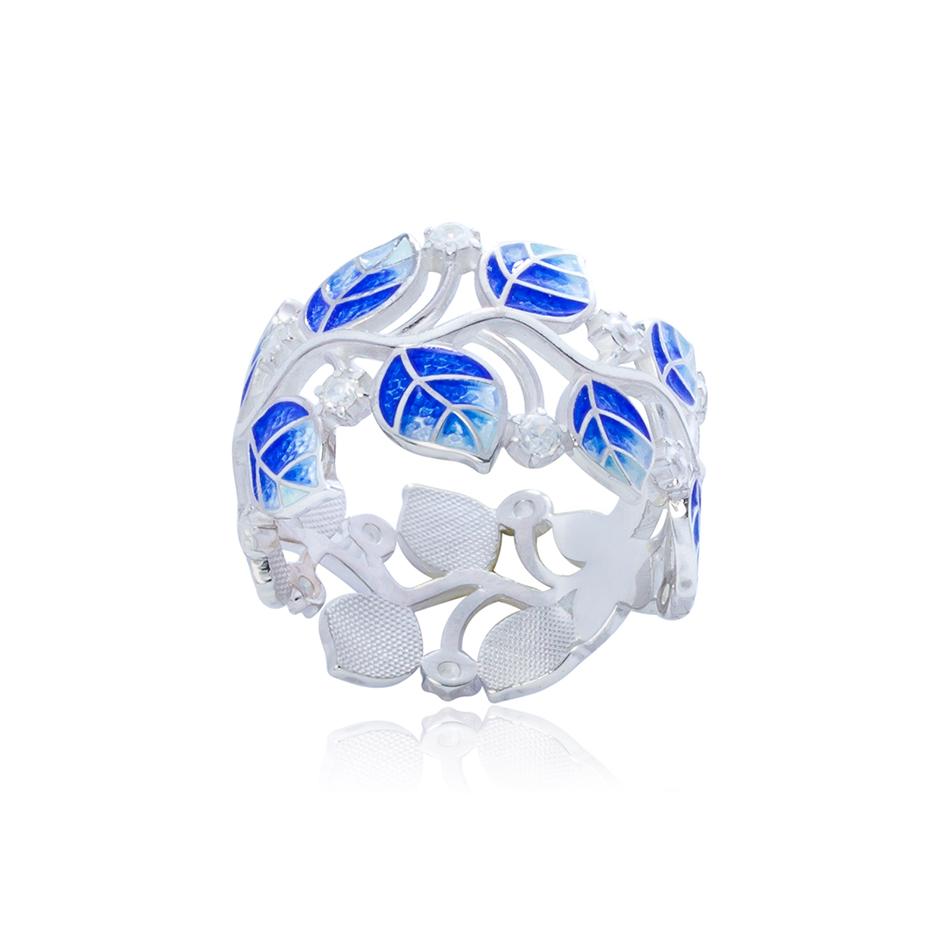 6 39 2s 2 1 - Кольцо серебряное «Мелисса», синее с фианитами