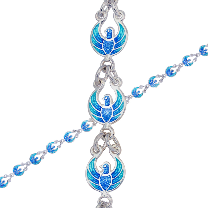9 31 sinyaya - Браслет из серебра «Голубки», голубой