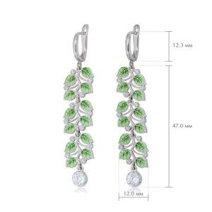 melissa dlinnye 2 300x300 - Длинные серьги-подвески из серебра «Мелисса», зеленые