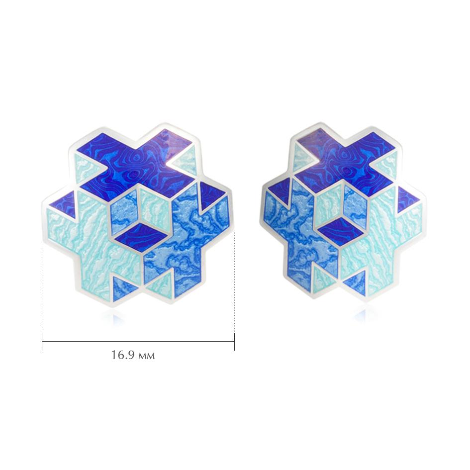 pussety tetra 1 - Пусеты серебряные «Тетра», синие