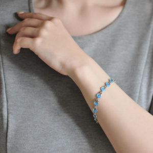 serebro golubaya 300x300 - Браслет из серебра «Голубки», голубой