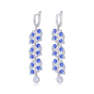sergi podveski melissa dlinnaya sinyaya 300x300 - Длинные серьги-подвески серебряные «Мелисса», синие