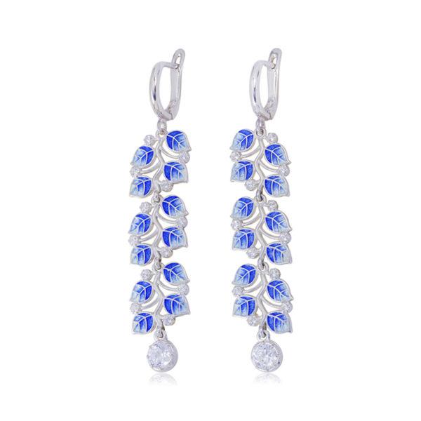 sergi podveski melissa dlinnaya sinyaya 600x600 - Длинные серьги-подвески серебряные «Мелисса», синие