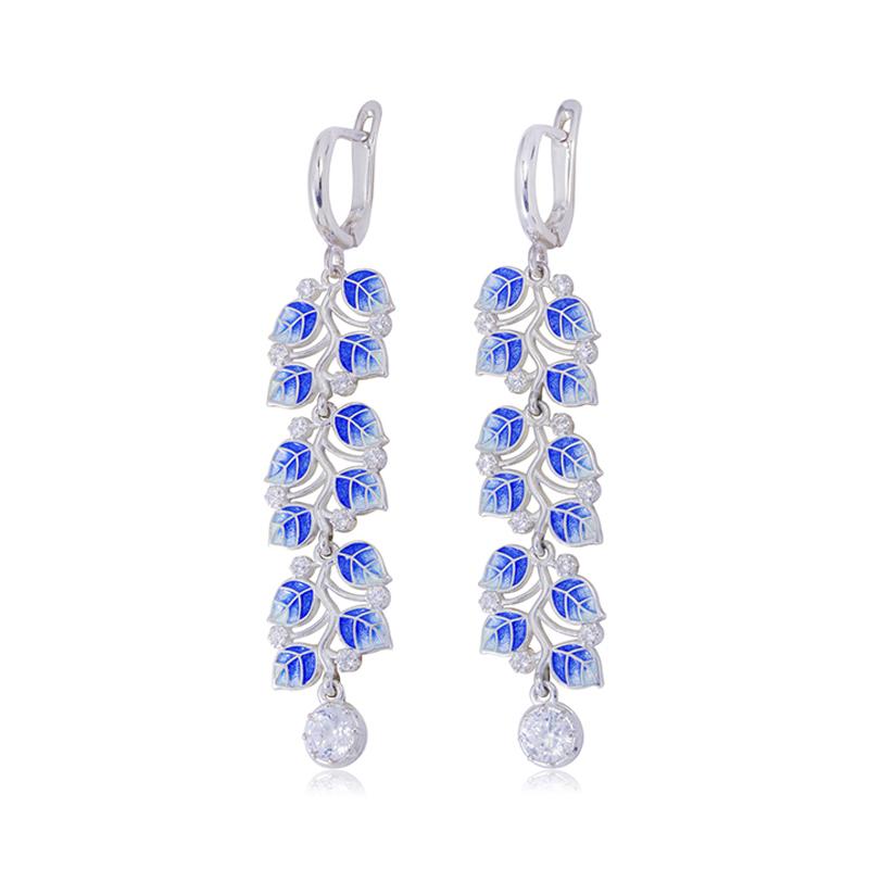 sergi podveski melissa dlinnaya sinyaya - Длинные серьги-подвески серебряные «Мелисса», синие