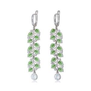 sergi podveski melissa dlinnaya zelenaya 300x300 - Длинные серьги-подвески из серебра «Мелисса», зеленые