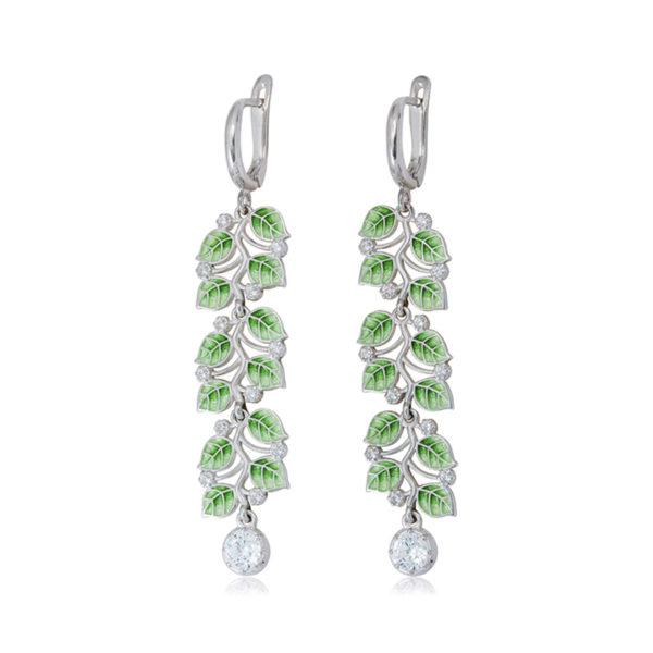 sergi podveski melissa dlinnaya zelenaya 600x600 - Длинные серьги-подвески из серебра «Мелисса», зеленые