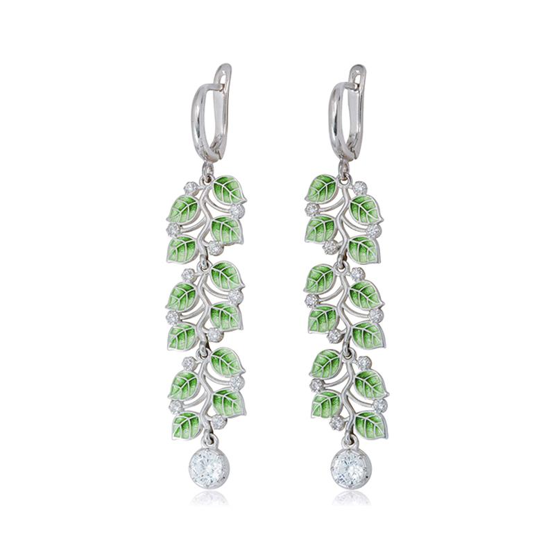 sergi podveski melissa dlinnaya zelenaya - Длинные серьги-подвески из серебра «Мелисса», зеленые