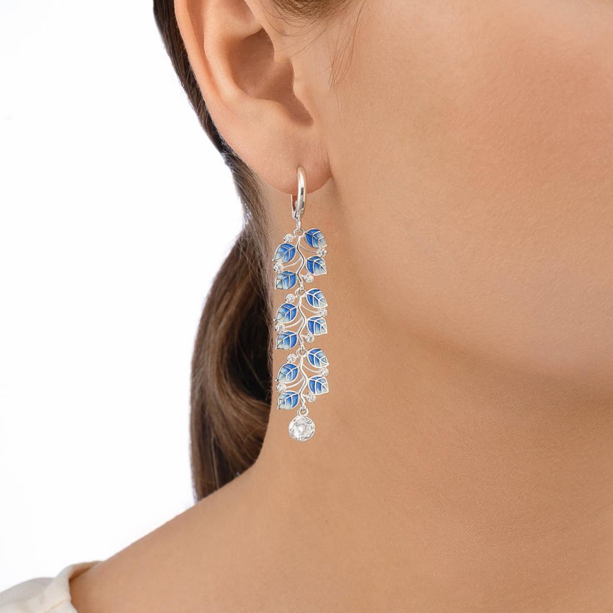 sergi melissa dlinnye sinie - Длинные серьги-подвески серебряные «Мелисса», синие