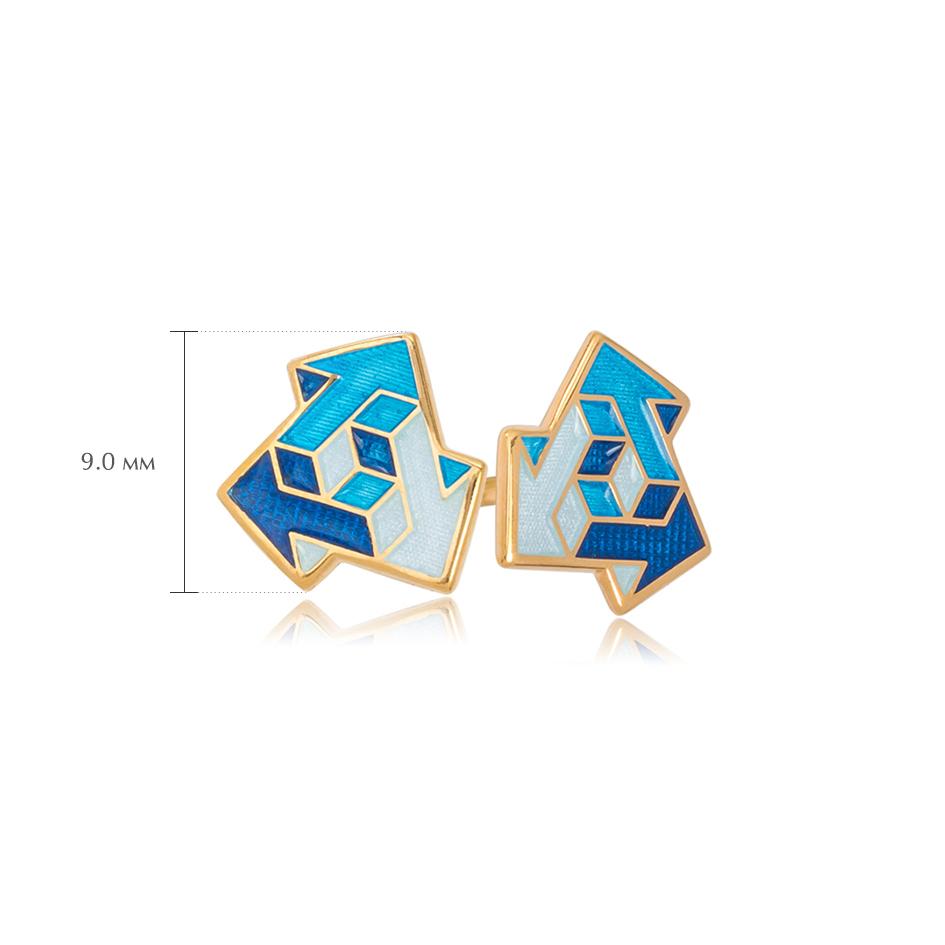 via sinie 1 - Пусеты из серебра «Виа» (золочение), синие
