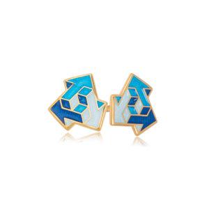 via sinie 300x300 - Пуссеты из серебра «Виа» (золочение), синие