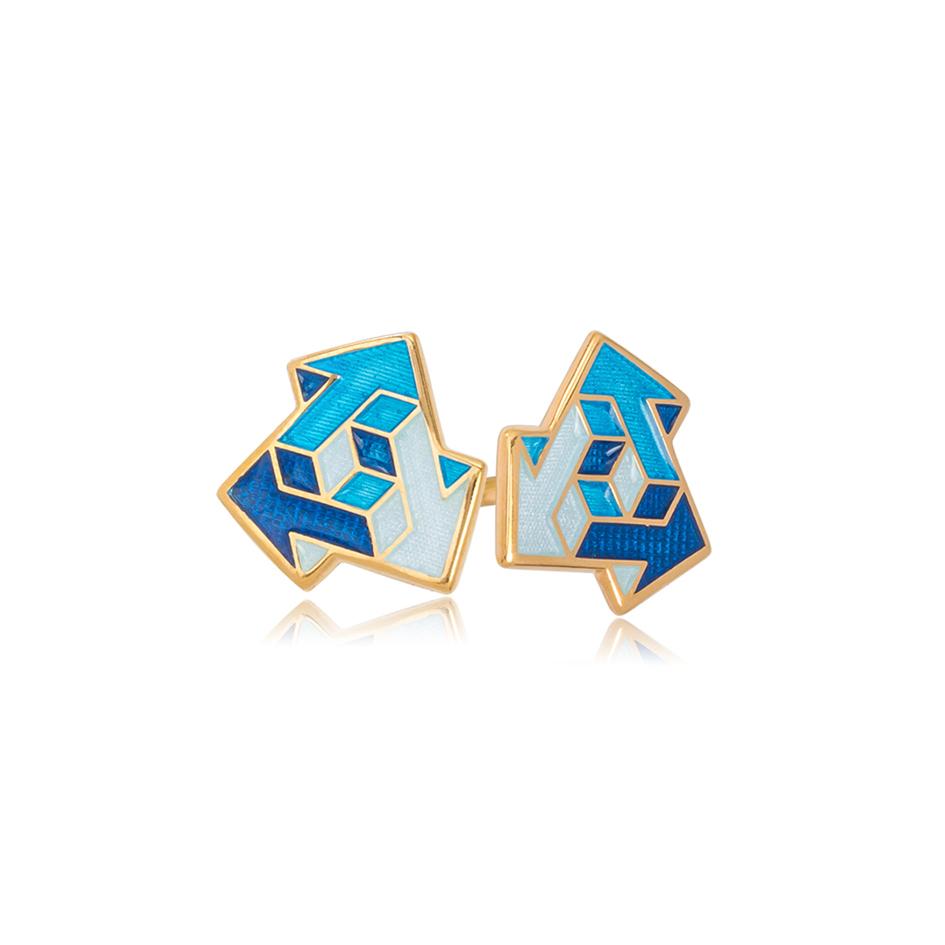 via sinie - Пусеты из серебра «Виа» (золочение), синие