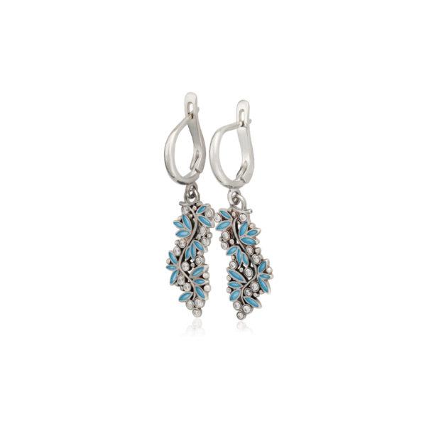 3 53 1 2s 3 600x600 - Серьги-подвески серебряные «Росинка», голубые