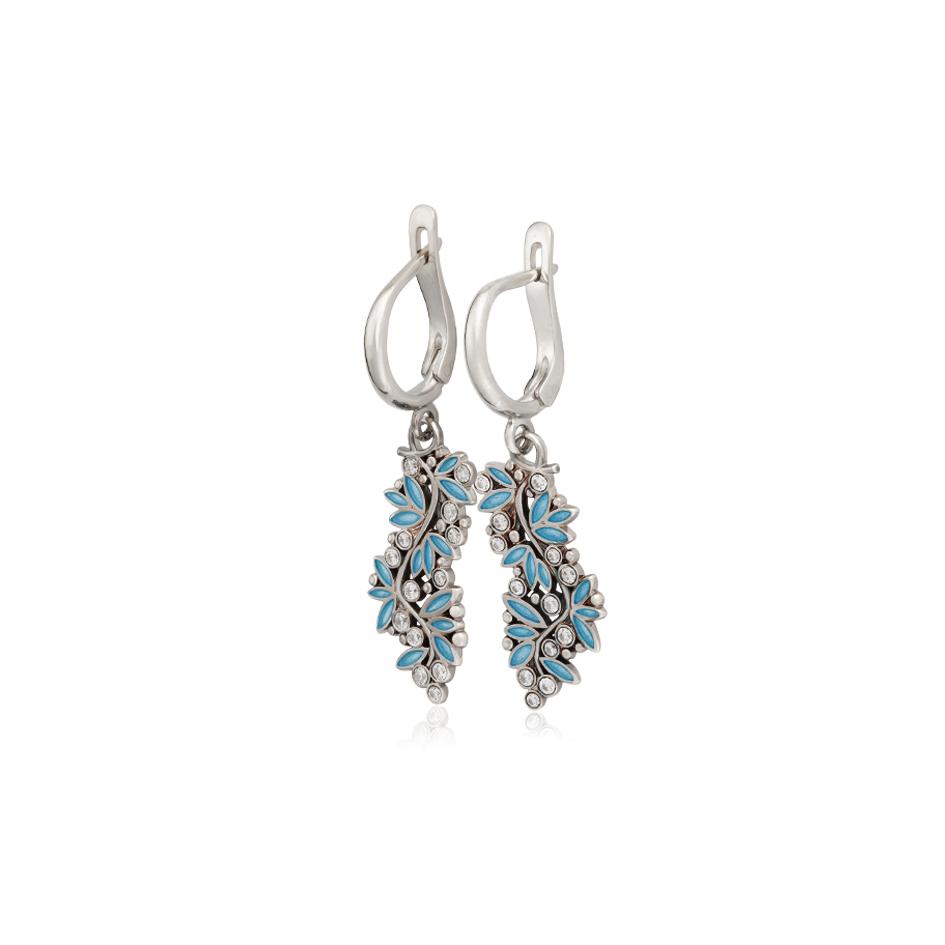 3 53 1 2s 3 - Серьги-подвески серебряные «Росинка», голубые