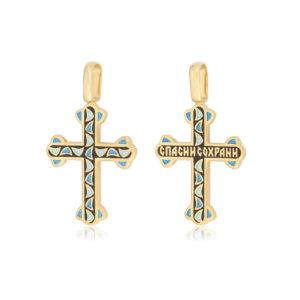 8 35 2z 300x300 - Нательный крест из серебра «Седмица» (золочение), черный