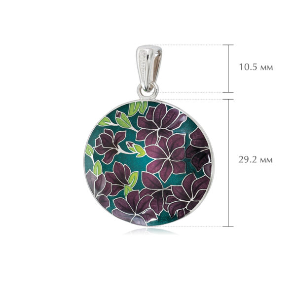klematis razmery 2 600x600 - Подвеска из серебра «Клематис», фиолетово-зеленая
