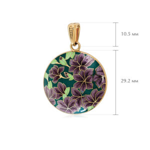 klematis razmery 4 300x300 - Подвеска из серебра «Клематис» (золочение), фиолетово-зеленая