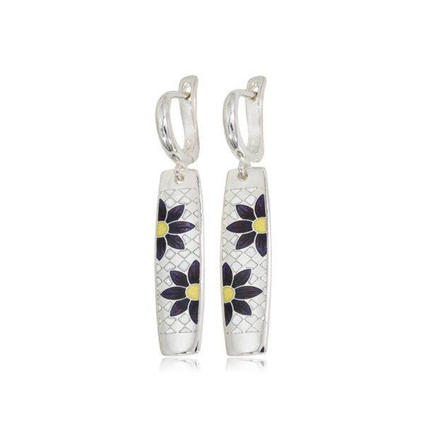 3 20sp 21s 600x600 - Серьги-подвески из серебра «Ромашки», фиолетовые