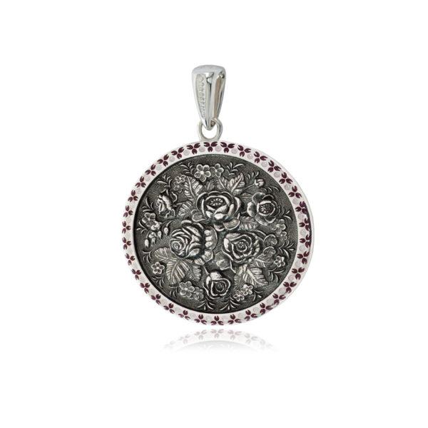 3 24 2s 600x600 - Серебряная подвеска круглая «Жостово», фиолетовая