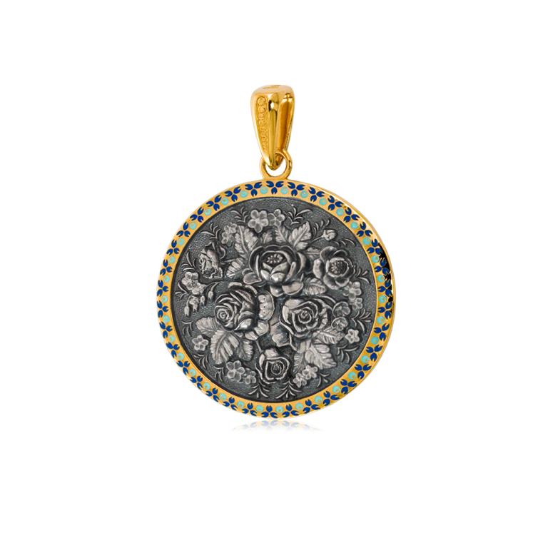 3 24 3z shema2 - Подвеска из серебра круглая «Жостово» (золочение), синяя