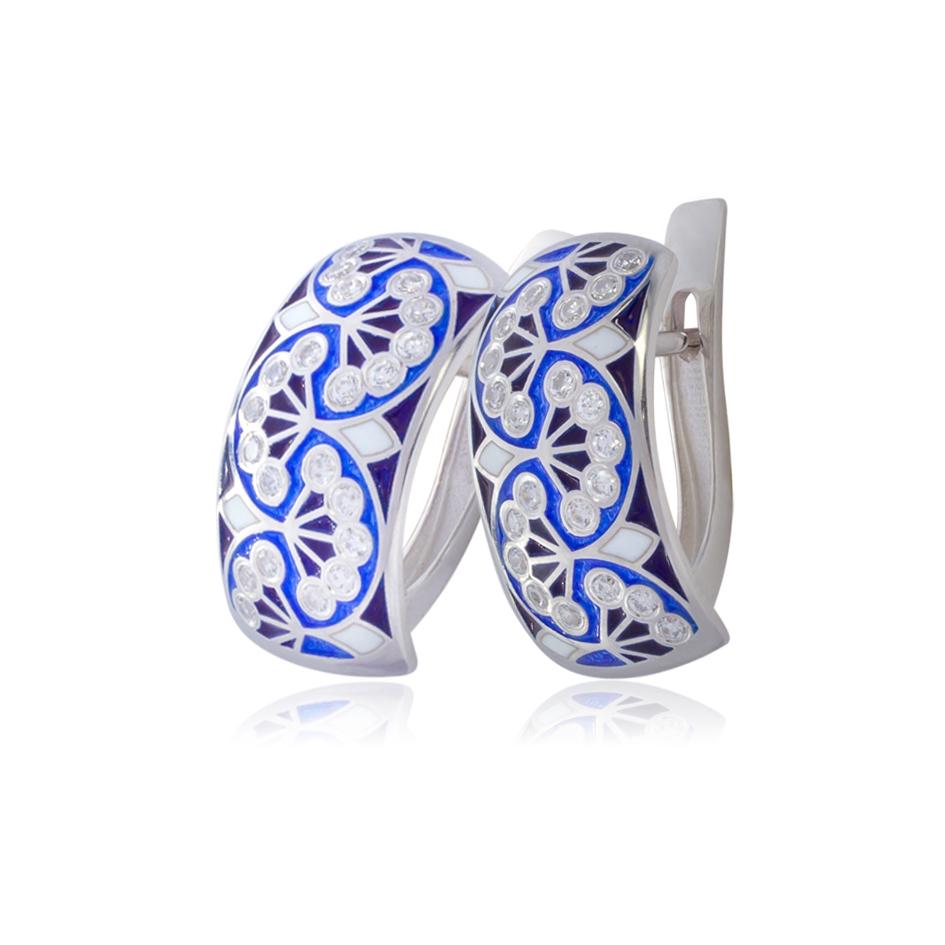 3 99 1 1s - Серьги-полукольца из серебра «Сады Семирамиды» (малые), синие