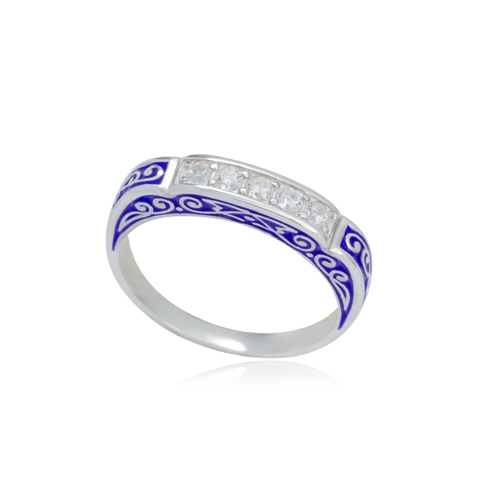 61 151 1s - Кольцо из серебра «Греческое», синее с фианитами