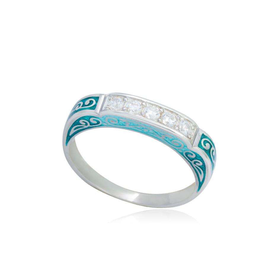 61 151 2s - Кольцо из серебра «Греческое», зеленое с фианитами