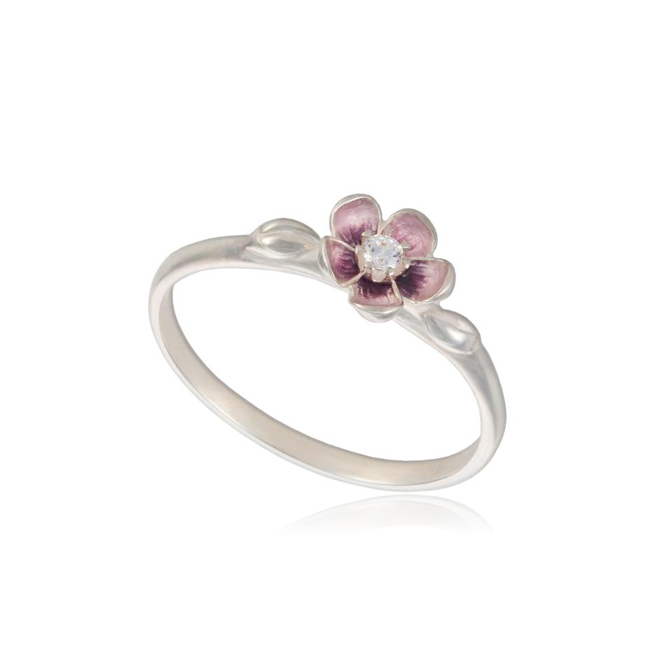 61 203s - Кольцо из серебра «Сакура», розовое