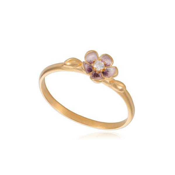 61 203z 600x600 - Кольцо серебряное «Сакура» (золочение), розовое