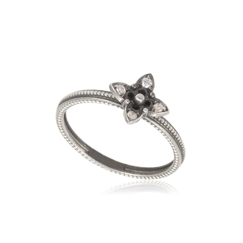61 204s - Кольцо серебряное «Четырехлистник»