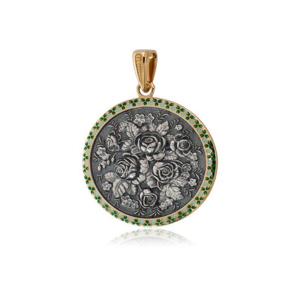 7 24 1z 600x600 - Подвеска из серебра круглая «Жостово» (золочение), зеленая