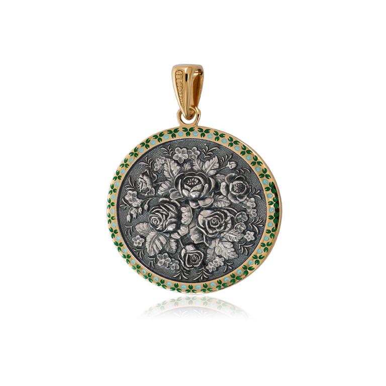7 24 1z - Подвеска из серебра круглая «Жостово» (золочение), зеленая