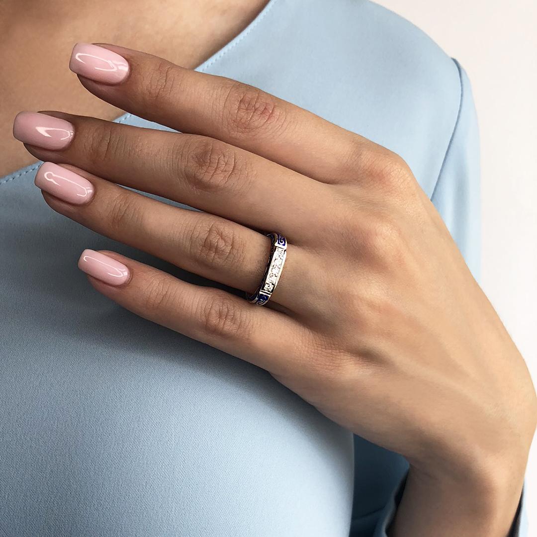 img 8498 - Кольцо из серебра «Греческое», синее с фианитами