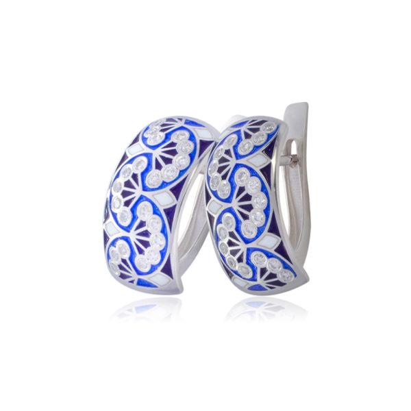 sady malye 1 600x600 - Серьги с английским замком «Сады Семирамиды» (малые), синие