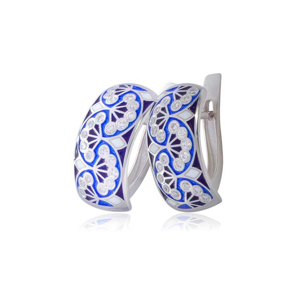 sady malye 1 - Серьги с английским замком «Сады Семирамиды» (малые), синие