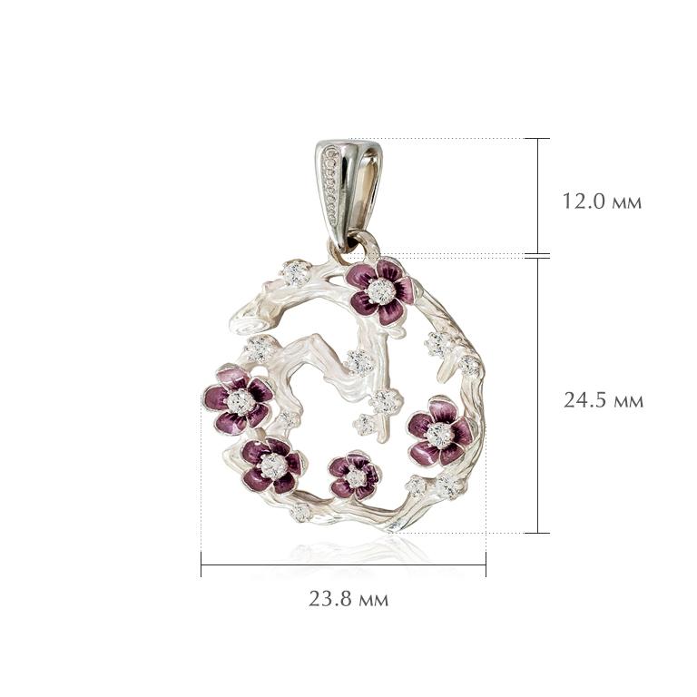 sakura razmery - Серебряная подвеска «Ветка сакуры» с фианитами