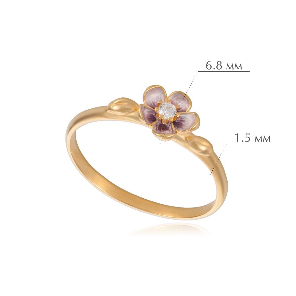 sakura zolochenie - Кольцо из серебра «Сакура» (золочение), розовое