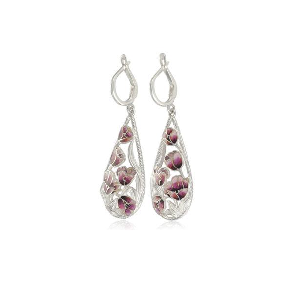 verona 600x600 - Серьги-подвески серебряные «Верона», розовые