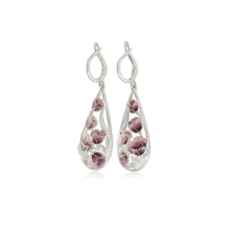 verona - Серьги-подвески серебряные «Верона», розовые