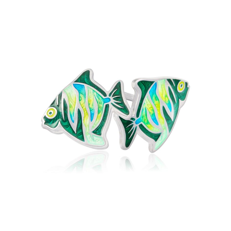31 261 - Пуссеты из серебра «Барбус», зеленые