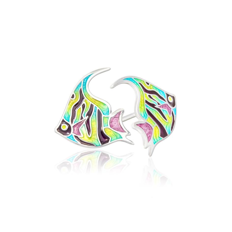 31 267 - Пуссеты из серебра «Скалярия», разноцветные