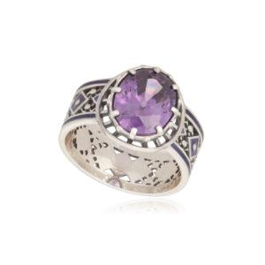 61 189 2s 300x300 - Кольцо из серебра «Калейдоскоп» (золочение), фиолетовое