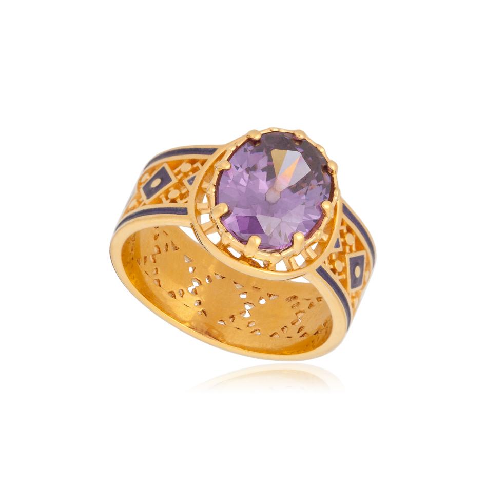 61 189 2z - Кольцо из серебра «Калейдоскоп» (золочение), фиолетовое