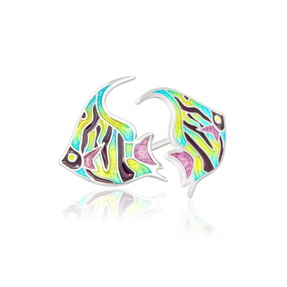 ryb1 - Пуссеты из серебра «Скалярия», разноцветные