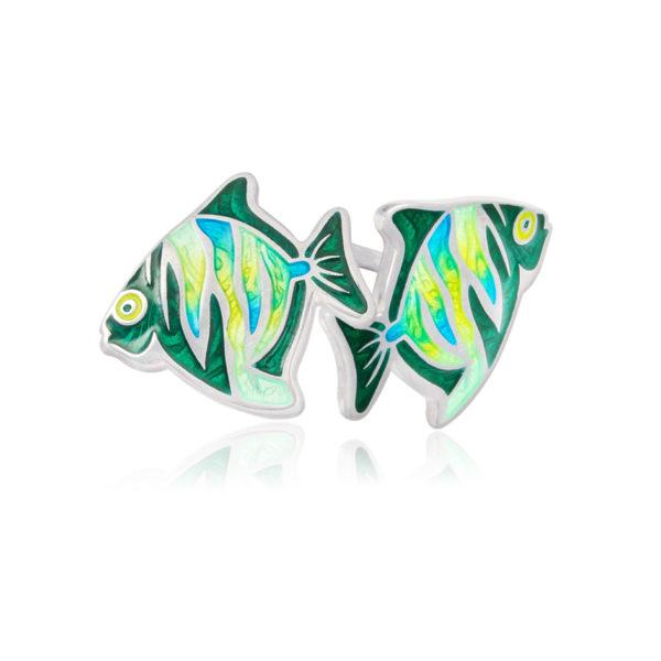 ryb3 600x600 - Пуссеты из серебра «Барбус», зеленые