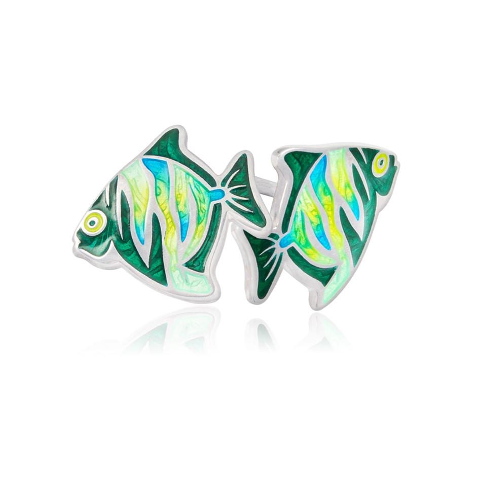 ryb3 - Пуссеты из серебра «Барбус», зеленые
