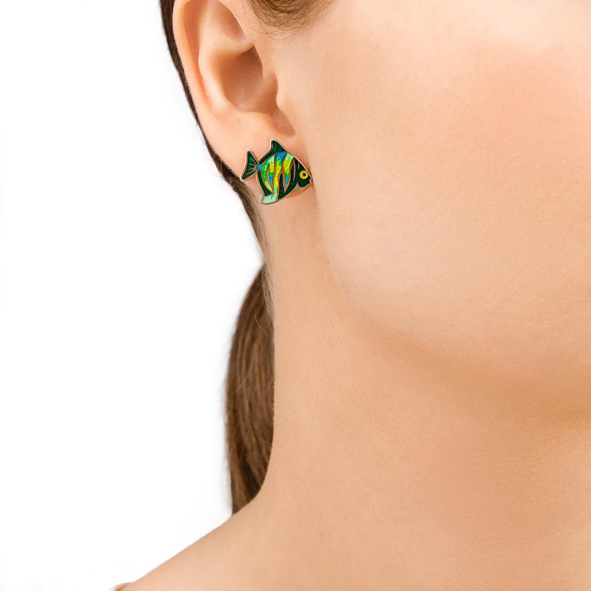 sergi 31.261 zelenye - Пусеты из серебра «Барбус», зеленые