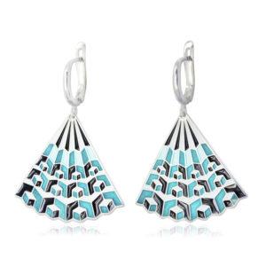 31 238 1s 300x300 - Серьги-подвески «Невозможные фигуры» серебряные, голубая